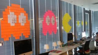 Old computer game characters made from sticky notes