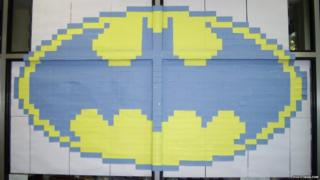 Batman logo made from sticky notes