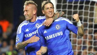Fernando Torres and Raul Meireles celebrate one of Chelsea's goals