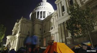 St Pauls Cathedral with tents outside