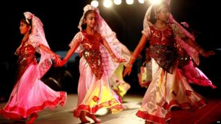 Girls performing at Diwali celebration