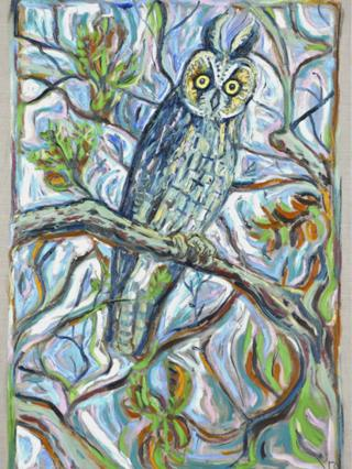 A painting called Reunion Owl by Billy Childish