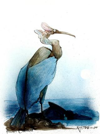 A painting called Pallas's Cormorant by Ralph Steadman