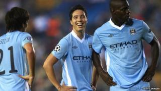 Samir Nasri of Manchester City smiles during the UEFA Champions League Group A match between Villareal and Manchester City