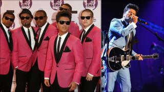 Bruno Mars with band members