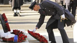 Prince William laying a wreath