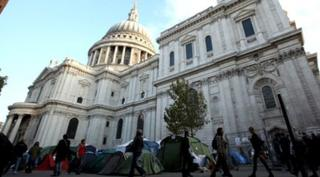 St Paul's Cathedral with tents outside