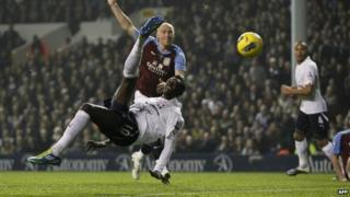 Emmanuel Adebayor scores for Spurs