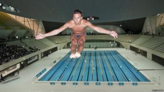 Tom Daley diving into a pool