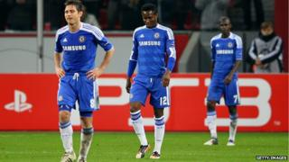 Lampard, Mikel and Ramires walking off the pitch looking dejected