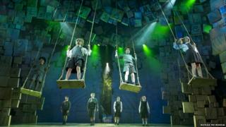 Four children singing whilst on giant swings