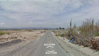 An area of land flattened by the Japanese tsunami