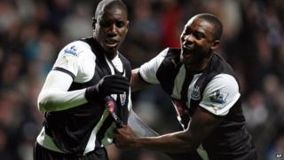 Demba Ba and Shola Ameobi celebrating