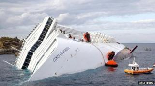 The Costa Concordia lists to one side after running aground