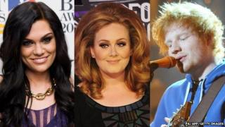 Jessie J, Adele and Ed Sheeran
