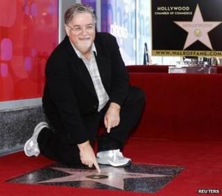 Simpsons creator Matt Groening with his new Hollywood star