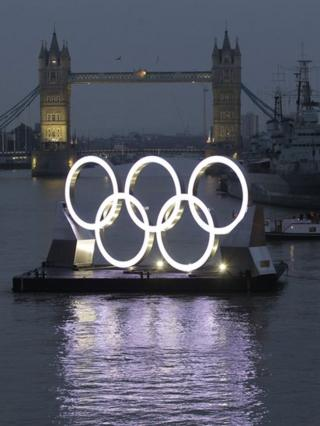 The rings in front of the famous Tower Bridge, with HMS Belfast to the right.