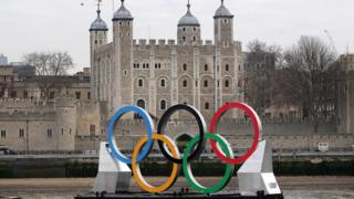 The Olympic rings in front of the Tower of London.