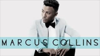 Marcus Collins appears in a smart suit jacket and black bow tie on the cover of his album Marcus Collins