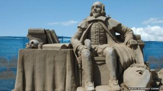 A sand sculpture showing the image of Shakespeare from the Weston-super-Mare sand sculpture festival 2010.