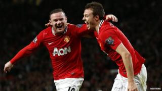 Wayne Rooney celebrating his 29th goal of the season against Fulham.