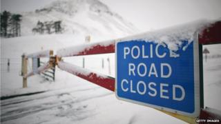Road closed due to snow in Scotland