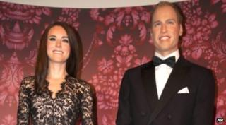 Waxworks of the Duke and Duchess of Cambridge in Amsterdam