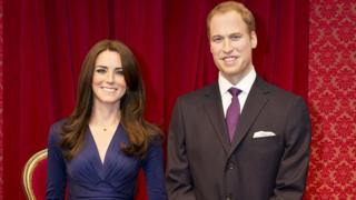 Waxworks of the Duke and Duchess of Cambridge in London