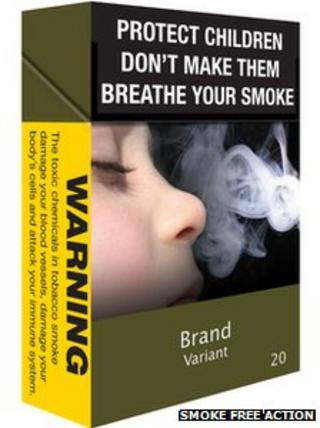 Smoke Free Action suggested packaging for unbranded cigarettes