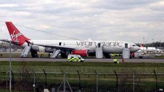 Virgin plane at Gatwick after emergency landing