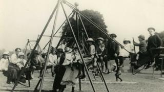 1920s playground and children playing