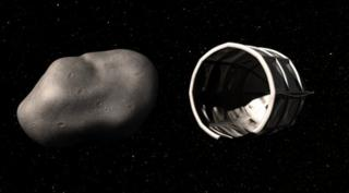 artist's impression of a spacecraft docking around a large asteroid
