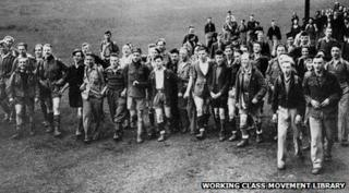 archive photo of the Kinder Scout protesters in 1932