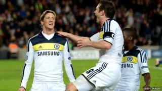 Lampard and Torres celebrate a goal