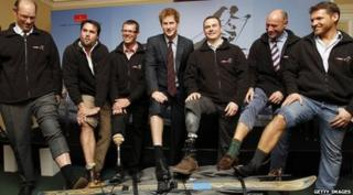 Prince Harry with wounded soldiers