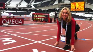 Hayley Cutts on the athletics track at the new Olympic Stadium in east London