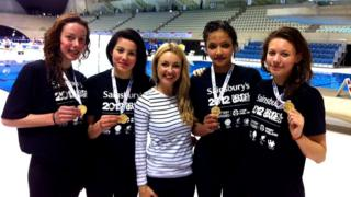 Hayley with four gold medalists at the School Games 2012