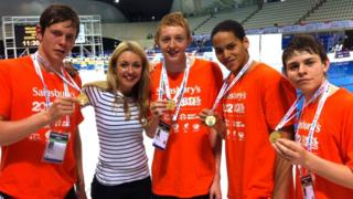 Hayley with four gold medallists at the School Games 2012
