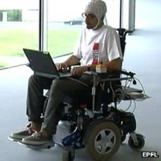 Man sits in thought-controlled wheelchair