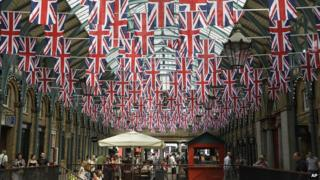 Shopping area decorated with Union Jacks