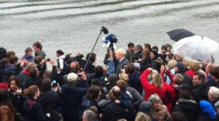 Boris Johnson arriving at the pageant
