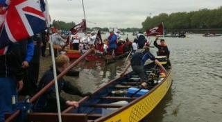 Lewis on dragon boat in Thames