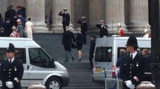 Zara Phillips arriving at cathedral