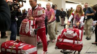 Russian athletes arriving in the UK