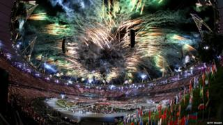 Fireworks finish off the London 2012 Olympic opening ceremony.