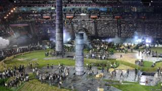 A scene showing Britain's industrial past from the Olympic opening ceremony.