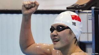 Ye Shiwen celebrates winning the 400m medley