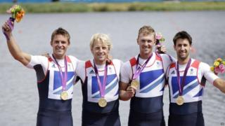 Rowers Peter Reed, Andrew Triggs Hodge, Alex Gregory and Tom James