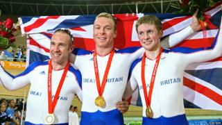 Chris Hoy, Jamie Staff and Jason Kenny in Beijing.