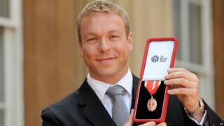 Sir Chris Hoy with his knighthood.